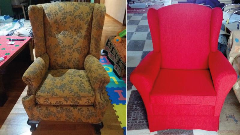 Tapizar sof sillas en almer a tapicer a torres for Sillones orejeros tapizados